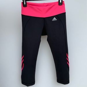 Adidas Capri Spandex 3 Stripe Pants Black Pink